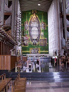 Graham Sutherland's Christ tapestry in the rebuilt Coventry Cathedral; 1962.[159]