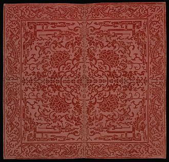 Tablecloth - Cover for Square Table, Qing dynasty, Qianlong period, 1736–1795, China. Cut and voided silk velvet