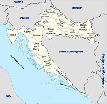 Location map Croatia is located in ক্ৰয়েটিয়া