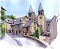 Croquis aquarellé- Conques - France (6787963711).jpg