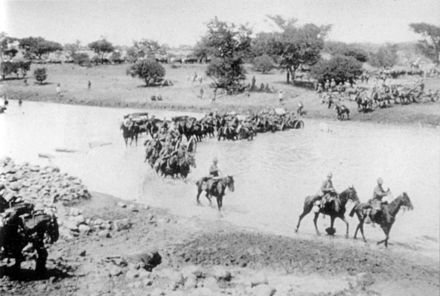 British troops crossing the river during the Second Boer War Crossing the Tugela River - 1898-9.jpg