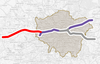 Map of Crossrail with Reading section