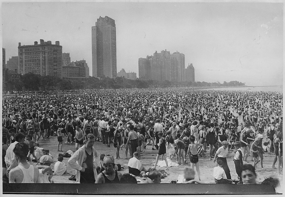 Crowd of bathers on the Lake Michigan beach, ca. 1925 - NARA - 535893