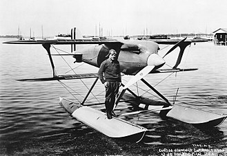 Jimmy Doolittle - Doolittle on his Curtiss R3C-2 Racer, the plane in which he won the 1925 Schneider Trophy Race