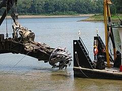 Cutterhead of dredge Bill Holman Louisville Kentucky USA Ohio River mile 607 July 2002 file a2g092