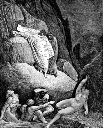 Thaïs - Dante and Virgil pass Thaïs in hell. Illustration by Gustave Doré of the Divine Comedy, Inferno