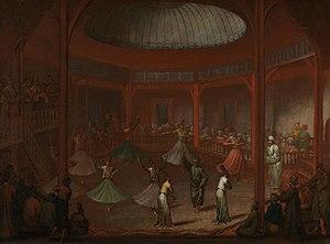 Mevlevi Order - Mevlevi dervishes whirling in Pera by Jean-Baptiste van Mour