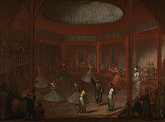 Sufi whirling - Mevlevi dervishes whirling in Pera by Jean-Baptiste van Mour