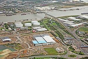 Dartford Crossing - Aerial view of the crossing looking northwards