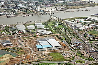 Dartford Crossing - Aerial view of the crossing looking northwards