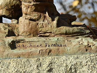 Sally James Farnham - Signature of the artist on the monument in Mount Hope Cemetery.