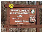 A sign for Sunflower Wildlife Management Area in Delta National Forest.