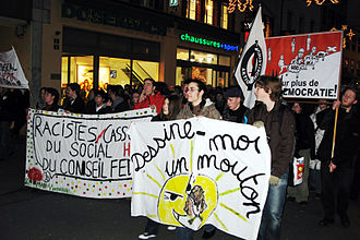Christoph Blocher - Demonstration in Lausanne on 8 December to call for Christoph Blocher to be ousted from the Federal Council in the upcoming elections. Blocher was replaced by Eveline Widmer-Schlumpf four days later.