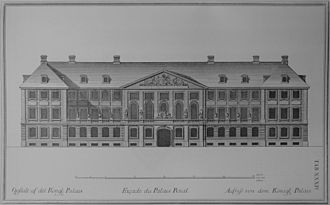 Prince's Mansion, Copenhagen - An elevation of the print mansion from Lauritz de Thurah's Den Danske Vitruvius published in 1746