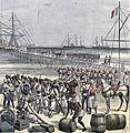 Desembarco en Cotonou de tropas senegalesas. Le Petit Journal, 21may1892.jpg