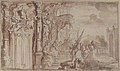 Design for a Stage Set- Solomon Receiving the Queen of Sheba under a Baldacchino, with Fantastical Architecture and a Gardenscape. MET 1971.513.50.jpg