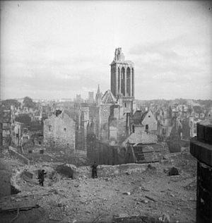 197th (Lancashire Fusiliers) Brigade - The aftermath of the bombing of Caen on 7 July 1944.