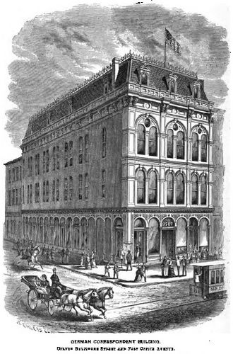 History of the Germans in Baltimore - The Raine Building, publishing location of Der Deutsche Correspondent, southwest corner of Baltimore Street and Post Office Avenue (now known as Customs House Avenue), Baltimore Maryland, circa 1869, prior to the great 1904 fire