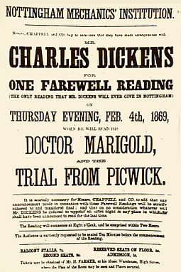 Poster promoting a reading by Dickens in Nottingham dated 4 February 1869, two months before he suffered a mild stroke Dickensposter nottingham1869.jpg