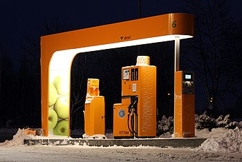 A self-service pump for diesel fuel. To the ri...
