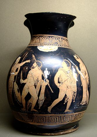 Palladium (classical antiquity) - Odysseus and Diomedes steal the Palladium from Troy. (Apulian red-figure oinochoe of ca. 360–350 BC from Reggio di Calabria.)