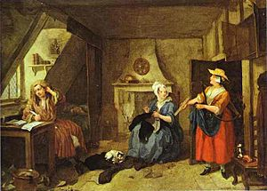 1736 in poetry - William Hogarth's The Distrest Poet, likely inspired by Alexander Pope's The Dunciad, painted about this year