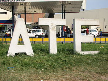 District sign Peru Lima Ate