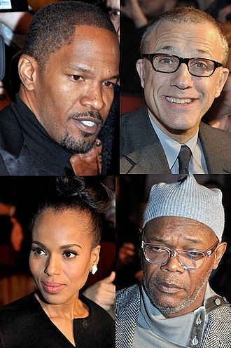 Django Unchained - Jamie Foxx, Christoph Waltz, Kerry Washington and Samuel L. Jackson in Paris at the film's France premiere, January 2013.