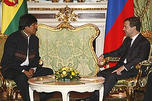 Bolivia–Russia relations - President Morales meeting with Russian President Dmitry Medvedev in Moscow Kremlin on 16 February 2009.