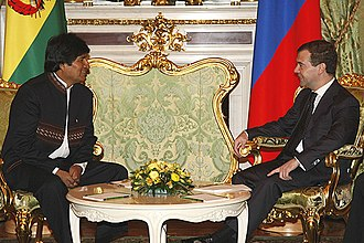 Foreign policy of the Evo Morales administration - Morales meeting with Russian President Dmitry Medvedev in Moscow on 16 February 2009.