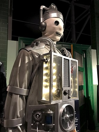 "The Doctor Falls - A ""primitive"" Cyberman, on display at a Doctor Who exhibition"