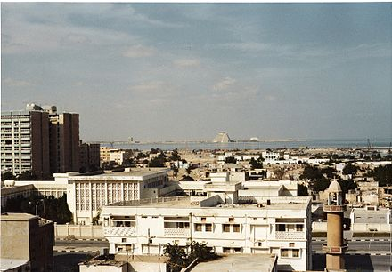 A view of Doha in the 1980s showing the Sheraton Hotel (pyramid-like building in the background) in West Bay without any of the high-rises around it Doha.jpg