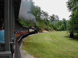 Dollywood - Dollywood features the Dollywood Express, a full-size steam train, one of the park's signature attractions.