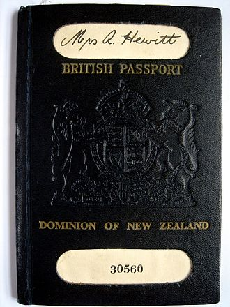 "Independence of New Zealand - An old New Zealand passport, 1949, bearing the title ""British Passport"" with ""Dominion of New Zealand"" underneath."
