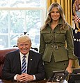 Donald and Melania Trump in the Oval Office 2017 (cropped).jpg