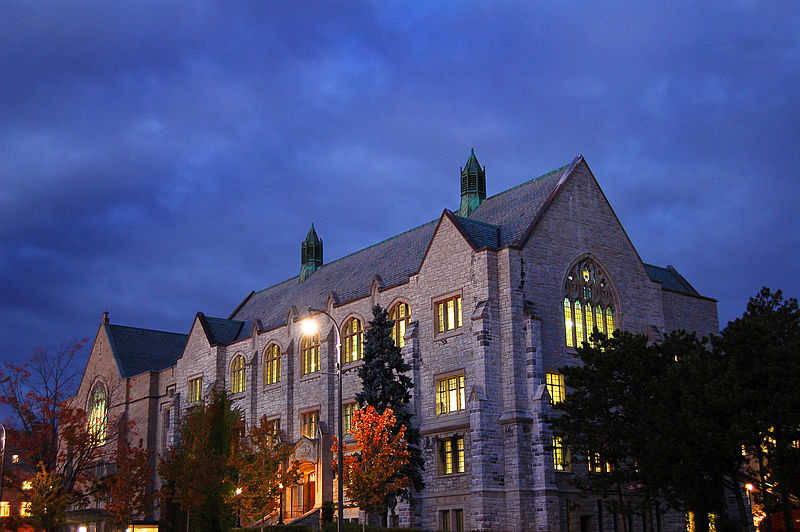 ไฟล์:Douglas Library at Dusk, Queen's University, Kingston, Canada.jpg