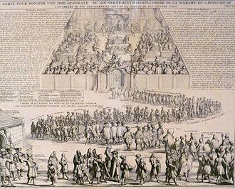 "Convention of Royal Burghs - 18thC French illustration of an opening of the Scottish Parliament. The procession is headed by ""Les Commissaires des Comtes, et des Bourgs, et des Villes""."