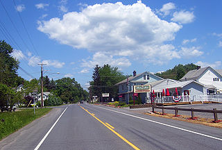 NY 32 is a north–south state highway that extends for 176.73 miles (284.42 km) through the Hudson Valley and Capital District regions of the U.S. state of New York. Here, the highway is concurrent with NY 213.