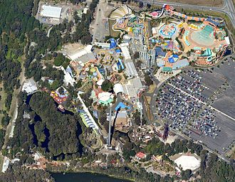 Dreamworld (Australian theme park) - An aerial view of Dreamworld and WhiteWater World in July 2011.