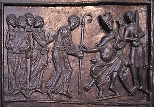 Culture of medieval Poland - Adalbert becomes bishop, detail of the Gniezno Doors, 1175