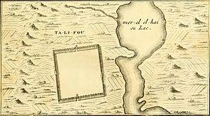 "Dali Town - An inset of ""Ta-Li-Fou"" and ""El-hai"" from Du Halde's 1736 Description of China."