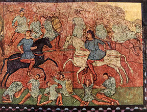 Late Roman army - Fresco from the synagogue in the Roman fortified frontier city of Dura Europos dating to c. 250 AD. The centre shows unarmoured light cavalry charging with lances, the foreground and background show infantry fighting with spathae (long-bladed swords); they are equipped with knee-length scale armours, some with full-length sleeves.