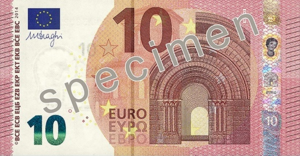 Euro - 10 euro note from the new Europa series written in Latin (EURO) and Greek (ΕΥΡΩ) alphabets, but also in the Cyrillic (ЕВРО) alphabet, as a result of Bulgaria joining the European Union in 2007.