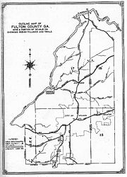 A map showing roads and Indian trails circa 1815, with late 19th century Fulton County and City of Atlanta outlines overlaid.