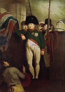 Oil painting of a man in a green uniform, white breeches and black bicorne hat leaning his right arm against a wooden partition draped with a flag.