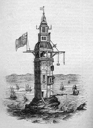 Eddystone Lighthouse - Winstanley's lighthouse, as modified in 1699