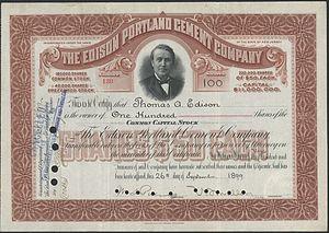 Edison Portland Cement Company - Share of the Edison Portland Cement Company from the 26. September 1899