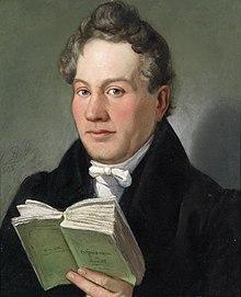 "Eduard Ritter: Porträt Christoph Kuffner mit seinem Buch ""Hesperidenhain der Romantik"", 1836 (Quelle: Wikimedia)"