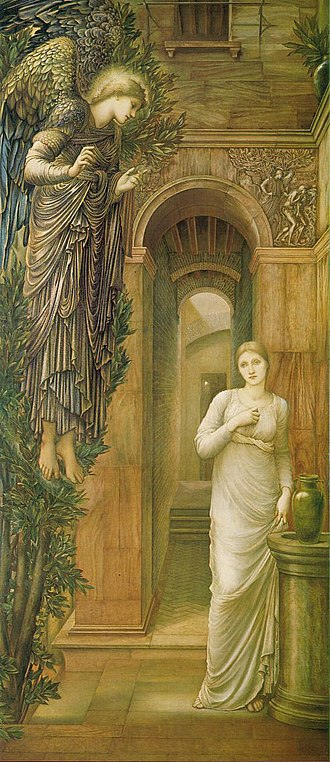 Greek Orthodox Church of the Annunciation - The Annunciation as depicted in an oil on canvas by Edward Burne-Jones (1879)