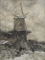 Een molen in de winter